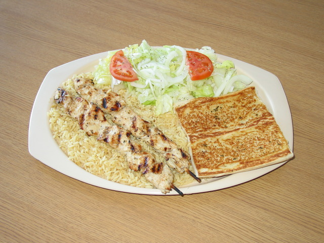 Chicken Kabob plate at Squabs Gyros