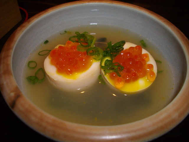Half Raw Egg With Salmon Roe Oden at Torihei