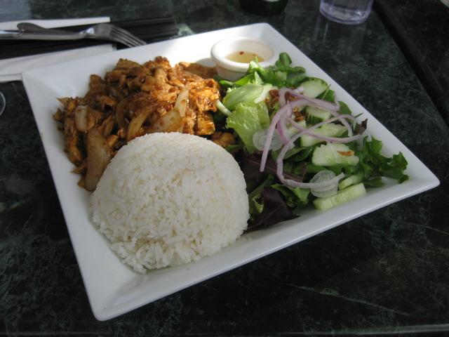 Garlic Chicken, rice and veggies at i Love Pho