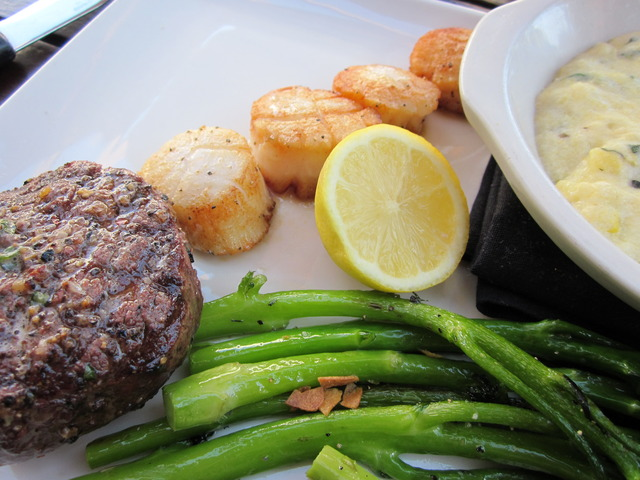 Center Cut Filet & Scallops with Creamy Basil Polenta and Broccolini at Devon Seafood + Steak