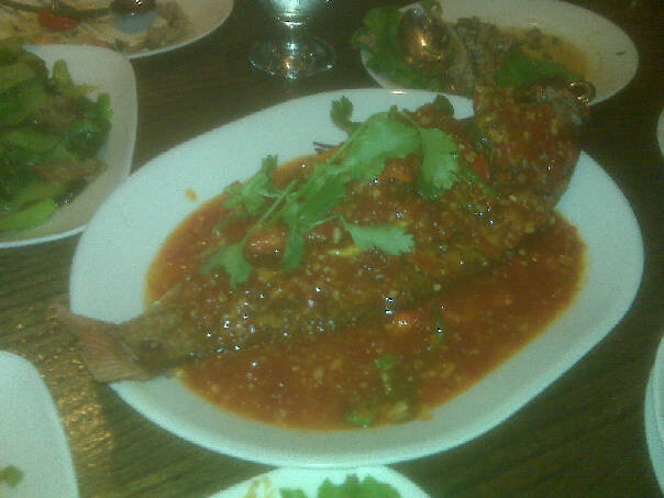 Fried Fish Topped with Chili and Basil Sauce at Sripraphai Thai Restaurant