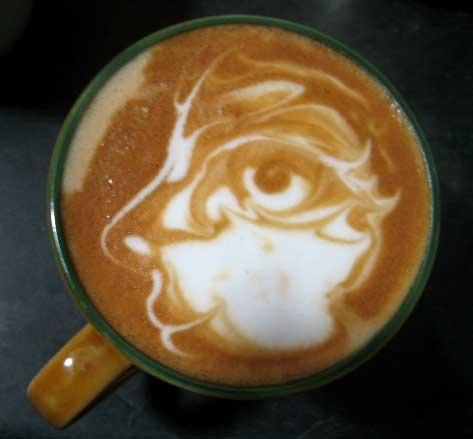 Face profile latte art - Latte at Studio 6