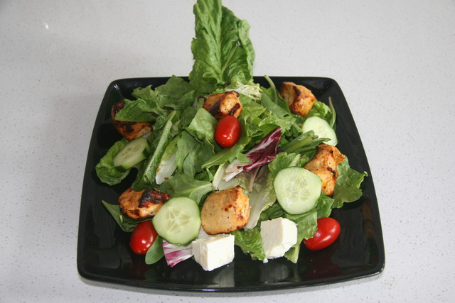 Garden Salad with Chicken Kabob at Mazadar Kabob