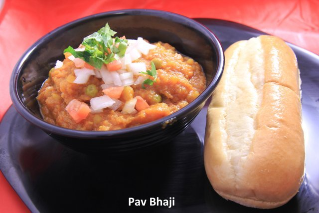 A gujarati favorite made with potatoes, onions, tomatoes, and green peas served with bread  - Pav Bhaji at Standard Sweets and Snacks