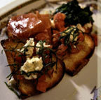 Garlic toast with tomato, basil, mozzarella, and olive oil - Bruschette Alla Romana at Francesca's Tavola