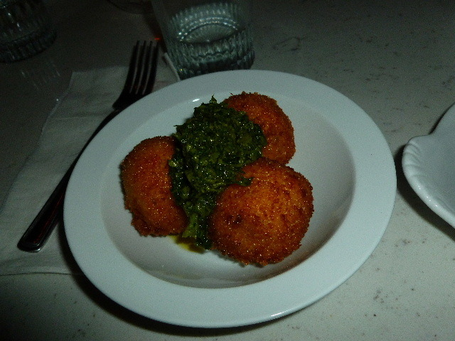 Sweet potato and goat cheese with herb sauce at Nini Meatball House