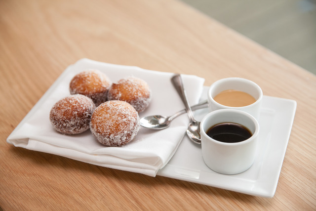cajeta & Cuban coffee dips - Cane Sugar Doughnuts at Verde