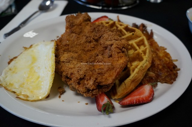 Chicken and Waffles at Soiree Cafe