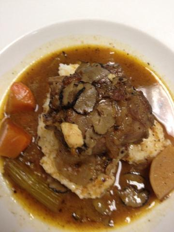 "Turkey Necks braised in Marsala w black truffles, served our jasmine rice ""grits"" at Serendipity"