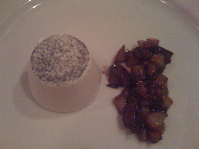 Vanilla Bean Panna Cotta with Grains of Paradise Spiced Apricots at Cafe Juanita