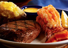 Steak and Rock Lobster Tail at Red Lobster