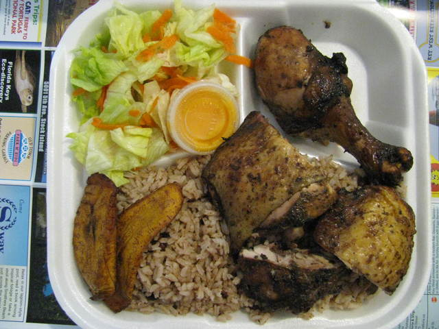 Jerk chicken at Irie Isle