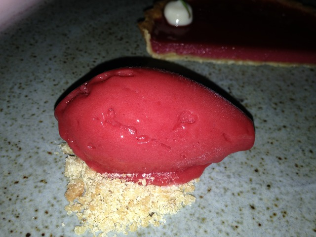 Closer View of the Ambrose Strawberry Sorbet - Dish at McCrady's