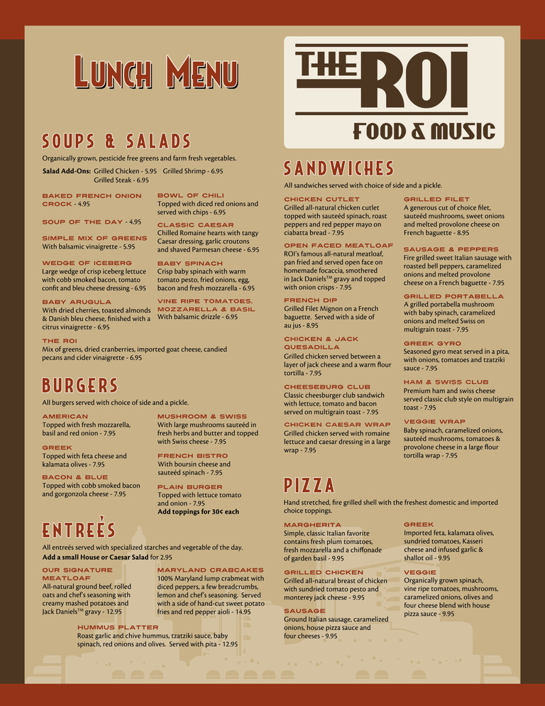 Restaurant Menu at The ROI Food & Music