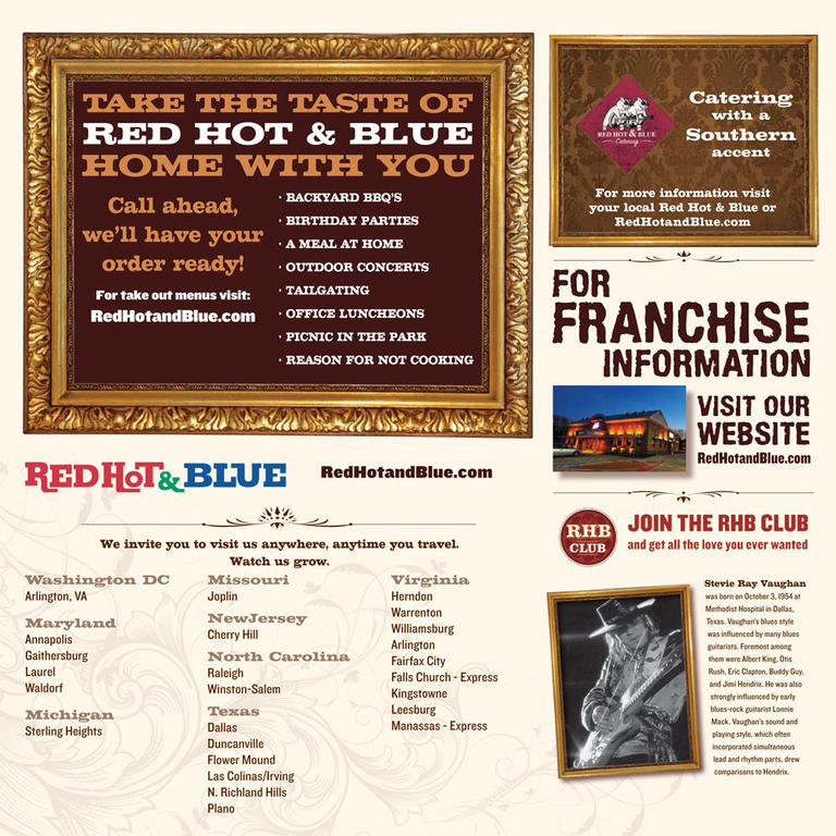 Restaurant Menu at Red Hot & Blue Restaurant