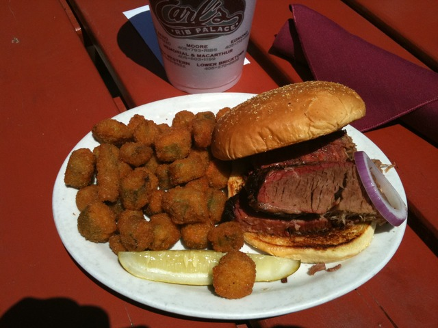 And the Delicious Okra. - Sliced Beef Brisket Sandwich (includes a side) at Earl's Rib Palace