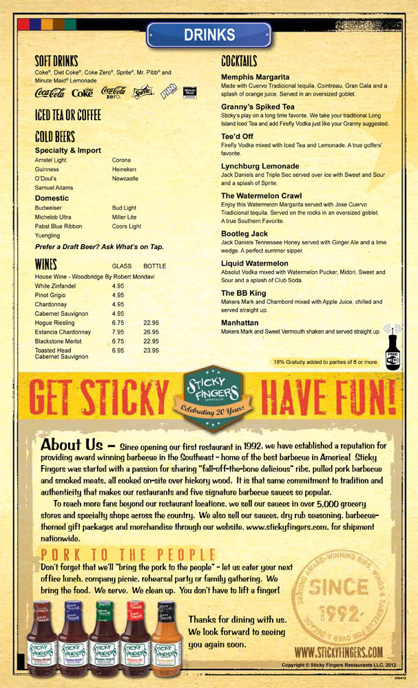 Restaurant Menu at Sticky Fingers