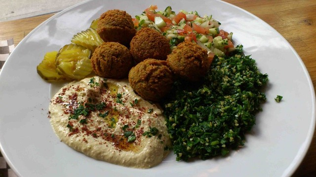 your choice of 2 dips, rice, salad  - Falafel Plate at Hummus Bar & Cafe