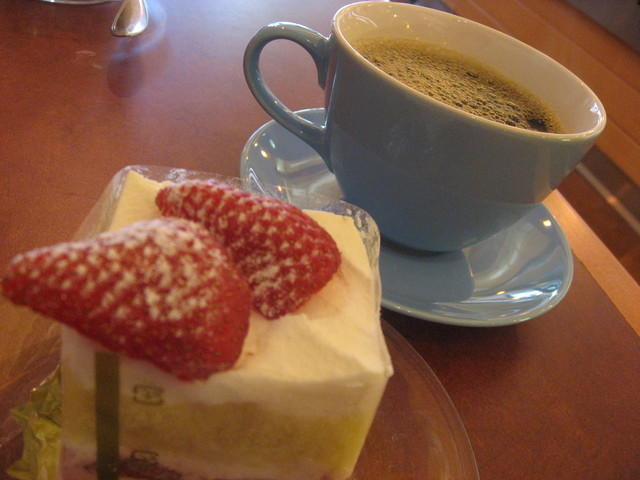 With a coffee on the side - Strawberry Shortcake at Satura Cakes