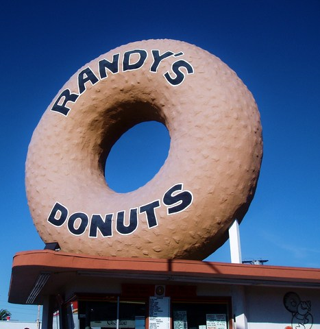 This is probably the most famous donut in the world - Exterior at Randy's Donuts