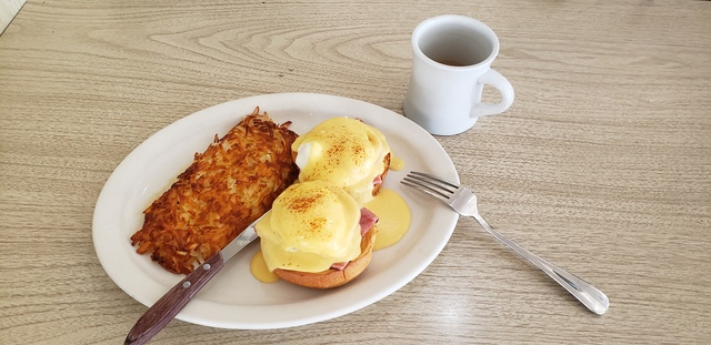 The Brioche Benedict was right on the money and the best I have tasted in a long time. The hash brow - Brioche Benedict at Bobbi's Coffee Shop