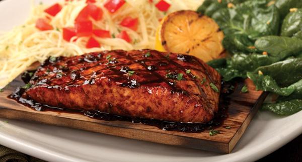 Cedar Planked Salmon at Carino's Italian Grill