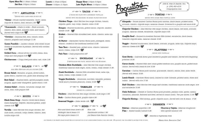 Restaurant Menu at Poquitos
