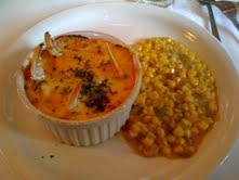 very good, very decadent  - Crab Florentine and Corn Machoux at The Blue Dog Cafe