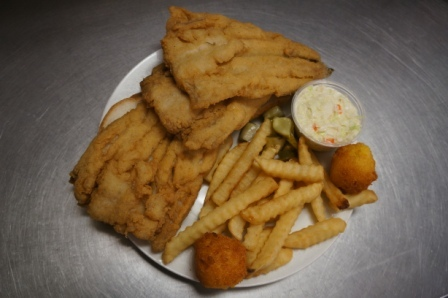 The Full Dinner size Plate - Catfish Fillet & Fries at Mary's Seafood