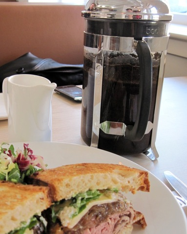 Roast Beef Sandwich and coffee served in a French press - Slow Roasted Beef at BRABO Tasting Room