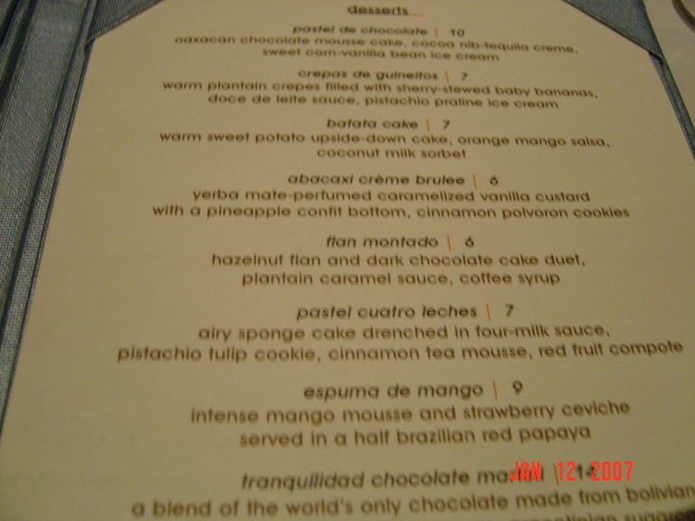 Restaurant Menu at Cuatro