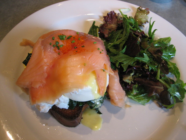 smoked salmon benedict at La Terrasse