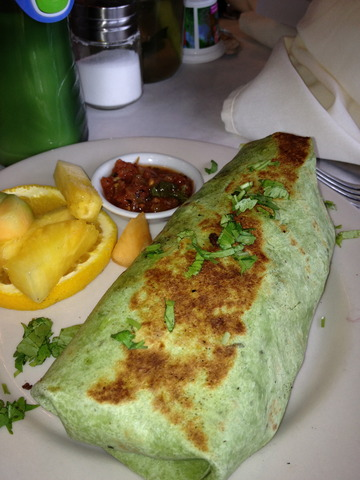 Lots of eggs, yum. But, too many potatoes and not enough veggies. - Breakfast Burrito at The Wild Plum
