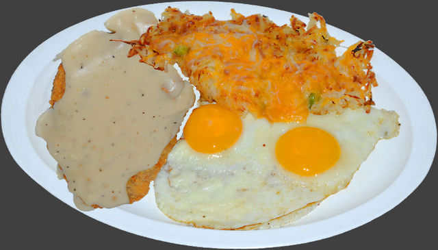 Country Fried Steak and Eggs at Ranch House Grille