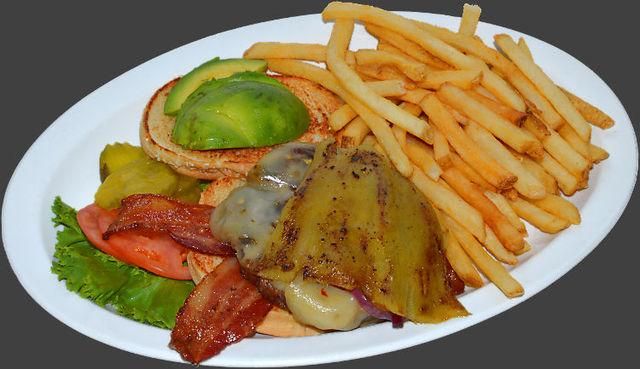 Bacon Avacado Burger meal at Ranch House Grille