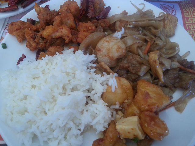 Photo of Chow Fun, Tofu Spicy Fish and Dry Spicy Chicken and white rice