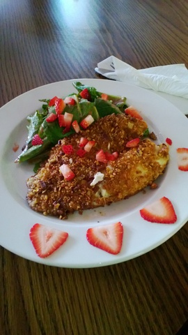 Pecan Crusted Tilapia w/ Strawberry Salad at Hungry Soul Cafe