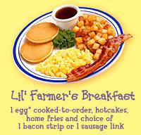 Lil' Farmer's Breakfast at Bob Evans