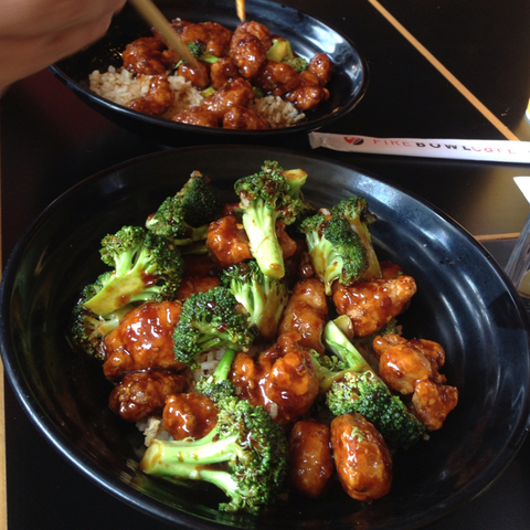 General Tso's Chicken at Fire Bowl Cafe