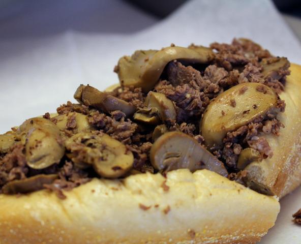 Steak and Mushroom Submarine Sandwich at Royal Roast Beef & Seafood