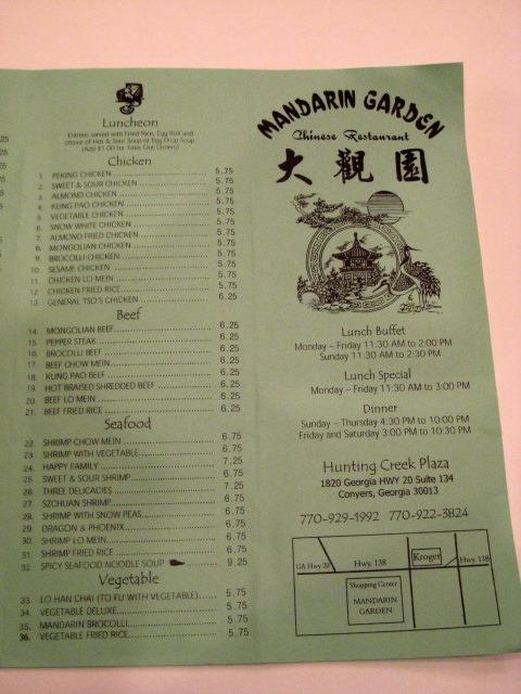 Restaurant Menu at Mandarin Garden