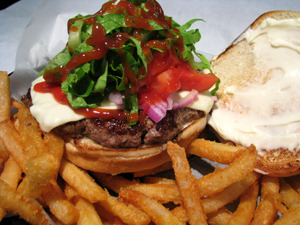 Burger and Fries at Theo's Pizzeria & Grill