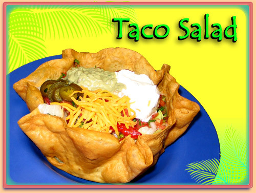 Crispy Tortilla Shell with all the fixins! - TACO SALAD at Ramirez Restaurant