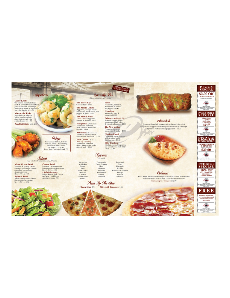 Restaurant Menu at Amore New York Pizzeria