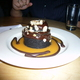 chocolate cake and vanilla gelato at Black Bottle