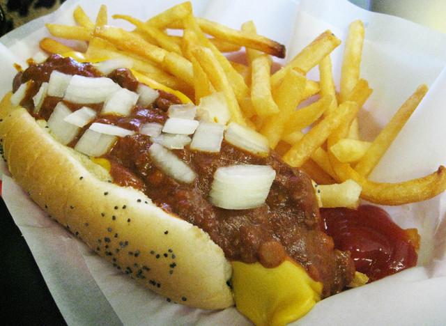 Chili Fire Dog at Mustard's