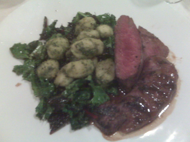 Loin of lamb with warm Swiss chard and mint-pesto gnocchi at Dan & Brad's