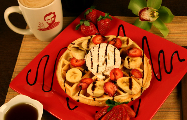 Strawberry Banana Waffle at Lincoln Grill Cafe in Fair Lawn
