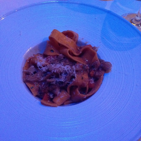 This was a daily special. Shredded lamb, fresh ragu, and fresh pasta! - Lamb Parpadelle at Cafe Milano
