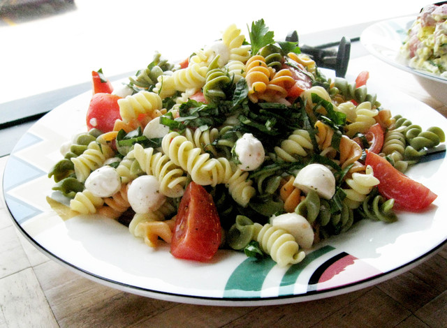 Pasta Salad with basil, tomatoes, mozzarella balls - Pasta Salad at Glacier Ice Cream and Gelato